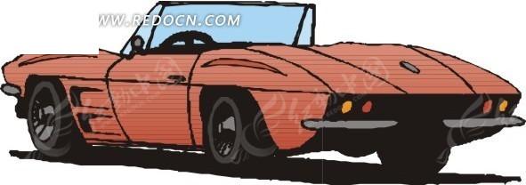 老式敞篷车 卡通画
