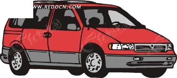 红色汽车 汽车车头 汽车侧面 卡通画 插画 手绘 矢量素材 交通工具