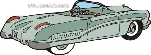 迷彩色 老式汽车 绿色汽车 敞篷车 卡通画 插画 手绘 矢量素材 交通