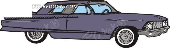 打开车门 深紫色汽车 卡通画 插画 手绘 矢量素材 交通工具 科技图片