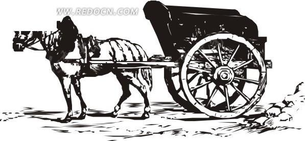 矢量素材 现代科技 交通工具 > 手绘停着的黑色马车  免费下载我要改
