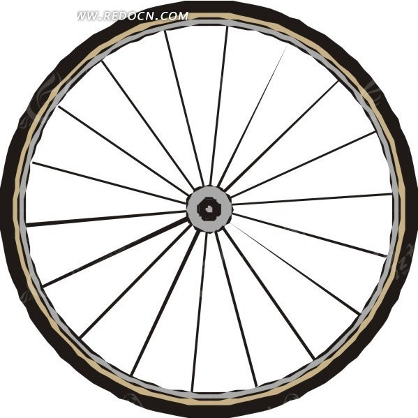 手绘自行车车轮矢量图