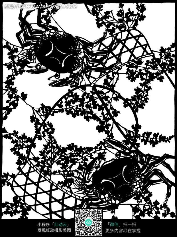 免费素材 图片素材 背景花边 花纹花边 手绘枝叶滕篮大闸蟹