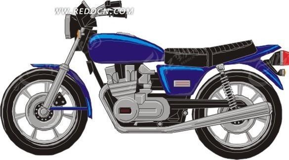 手绘蓝色摩托车
