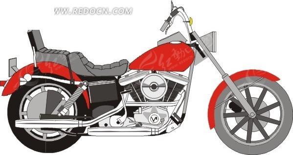 手绘红色摩托车图片