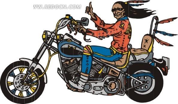手绘骑着摩托车的男人