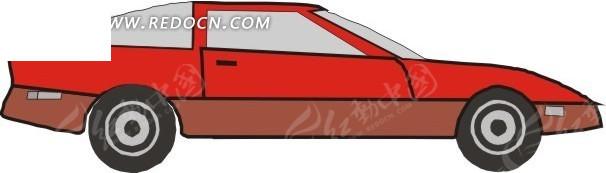 卡通红色汽车矢量图_交通工具