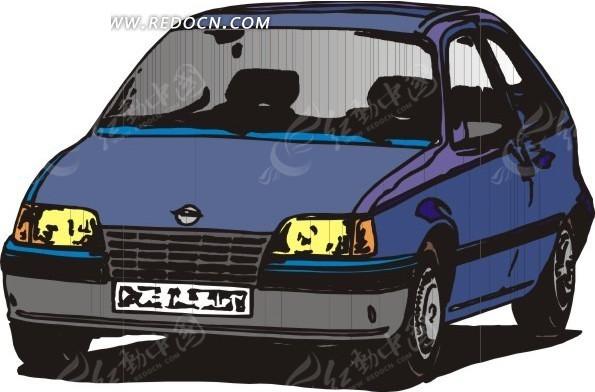 手绘蓝色汽车