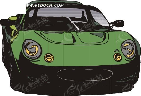 绿色汽车正面特写