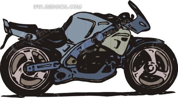 手绘摩托车矢量图_交通工具