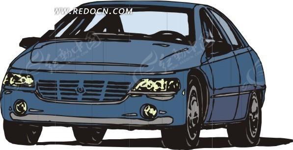 蓝色汽车车头特写卡通画