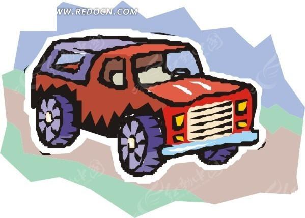 红色越野车卡通画