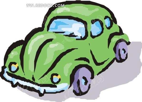 绿色小汽车 卡通画 交通工具 卡通漫画 插画 手绘 eps 矢量素材  免费