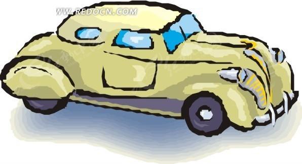 黄色小汽车卡通画矢量图_交通工具