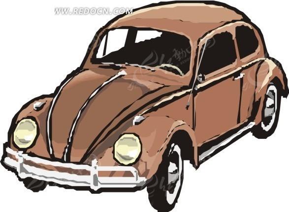 褐色小汽车卡通画矢量图