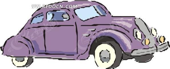 手绘紫色小汽车图片