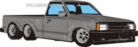 手绘汽车—灰色汽车俯视图