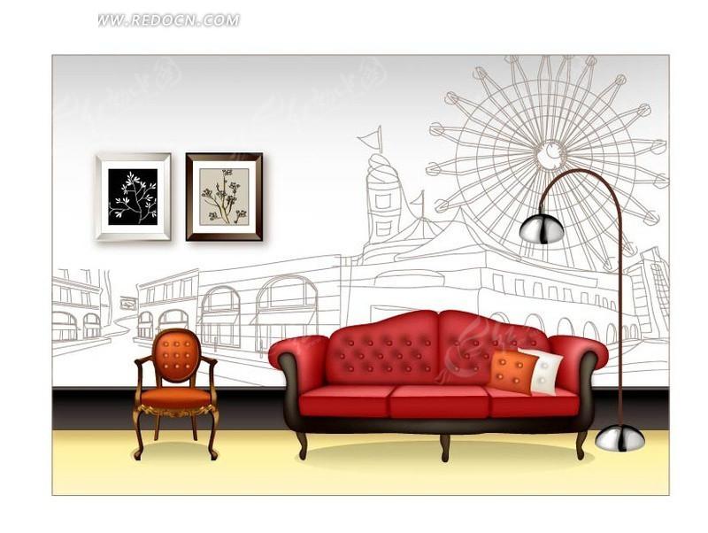 红色沙发和线描街道背景墙纸