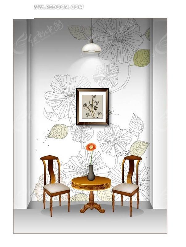 凳子桌子和手绘线描花朵墙纸