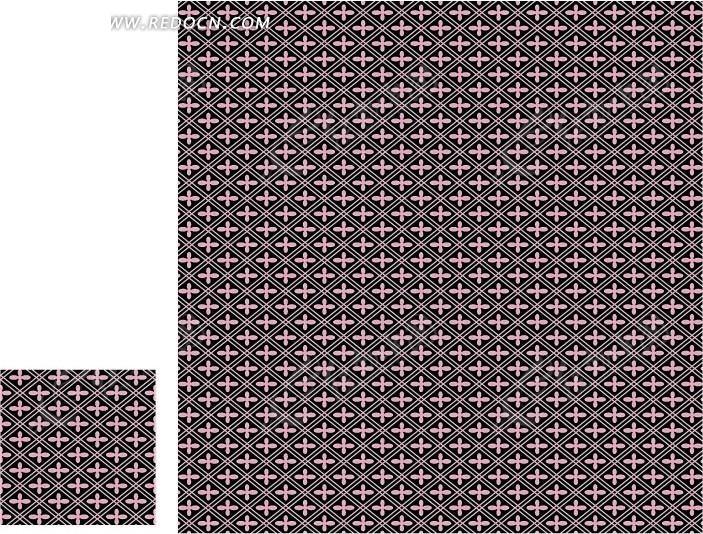 棕色格子和粉色十字构成的图案矢量素材