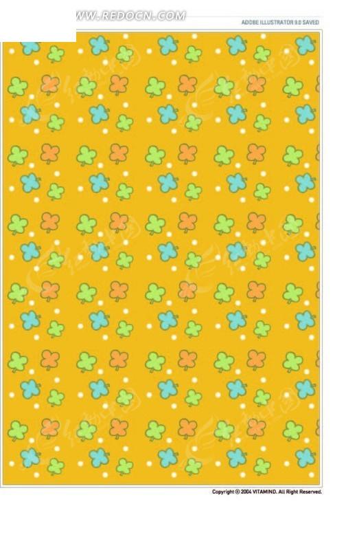 土黄色背景上可爱手绘花朵花纹背景矢量图_底纹背景; 卡通花朵黄色