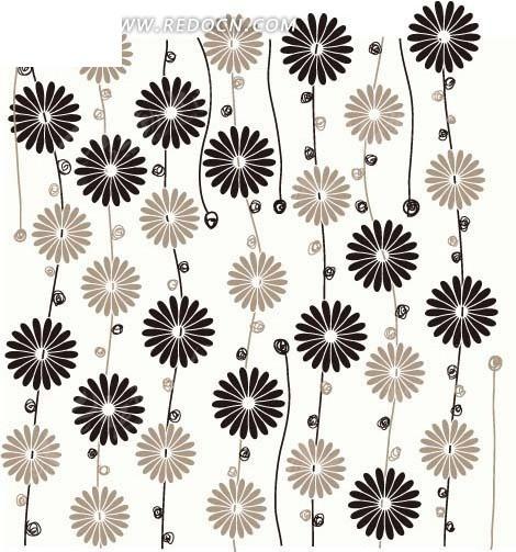 花朵 线条 花藤 底纹 背景素材 矢量素材 eps