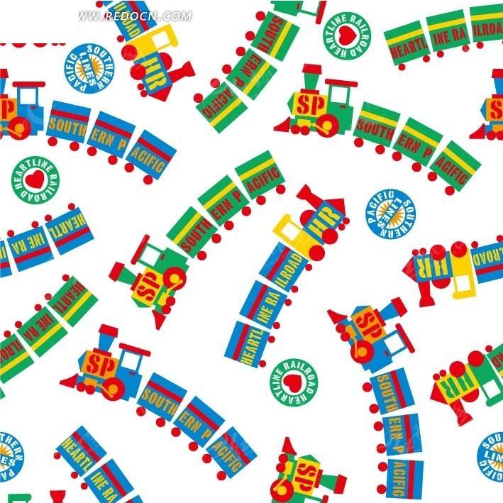 创意卡通火车设计背景矢量图_底纹背景