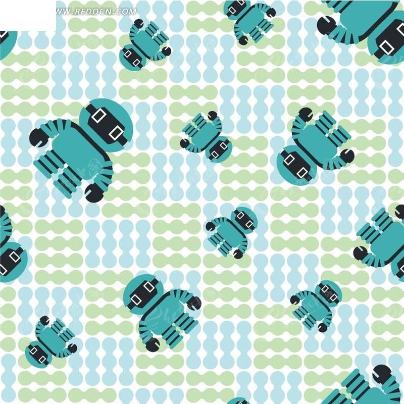 机器人图案背景矢量图