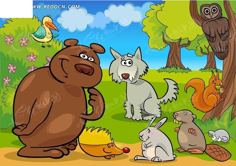可爱卡通森林动物矢量素材图片