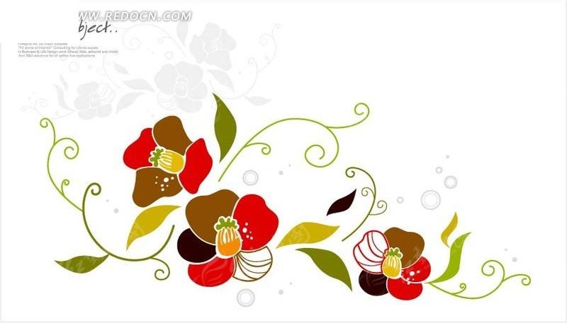 免费素材 矢量素材 花纹边框 花纹花边 > 手绘弯曲的藤蔓和盛开的花朵