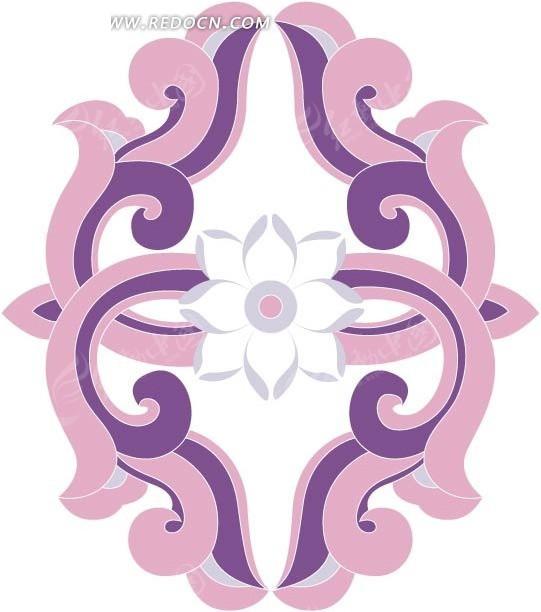 白色 花朵 紫色 藤蔓 ai素材 花纹 花纹素材 花边 花边素材  矢量素材