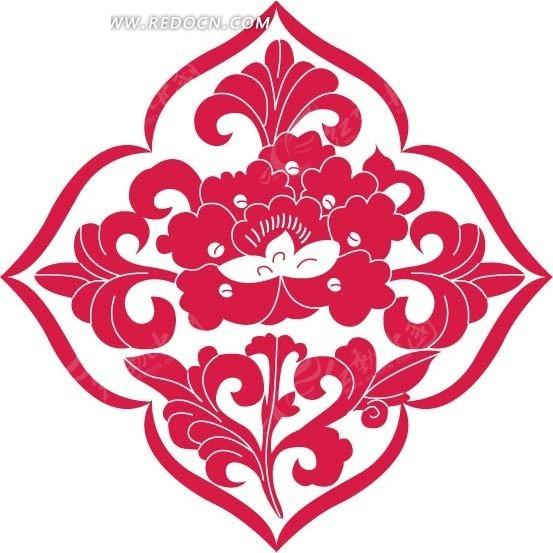 红色菱形里的花朵和叶子图案