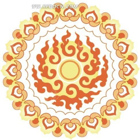 围绕烈日焰火莲花花瓣图案矢量图_花纹花边图片