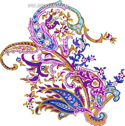 手绘五颜六色美丽的花纹和花朵叶子
