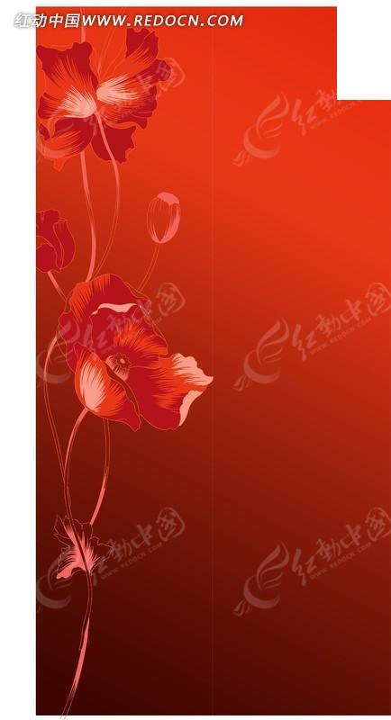 红色渐变背景上的手绘花朵