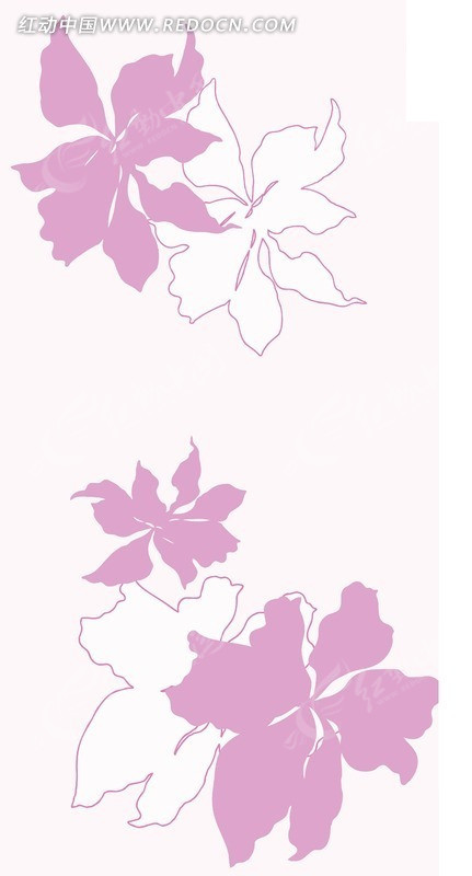 浅色背景上的手绘粉色花朵