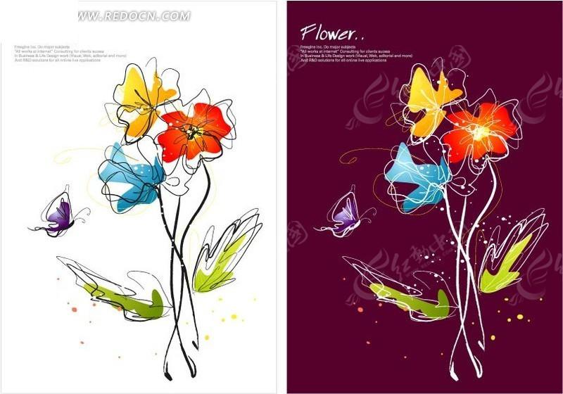 手绘盛开的花朵和蝴蝶图片