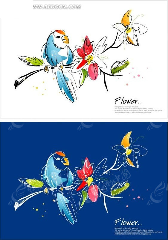 免费素材 矢量素材 花纹边框 底纹背景 > 手绘花枝上的蓝色鹦鹉  免费