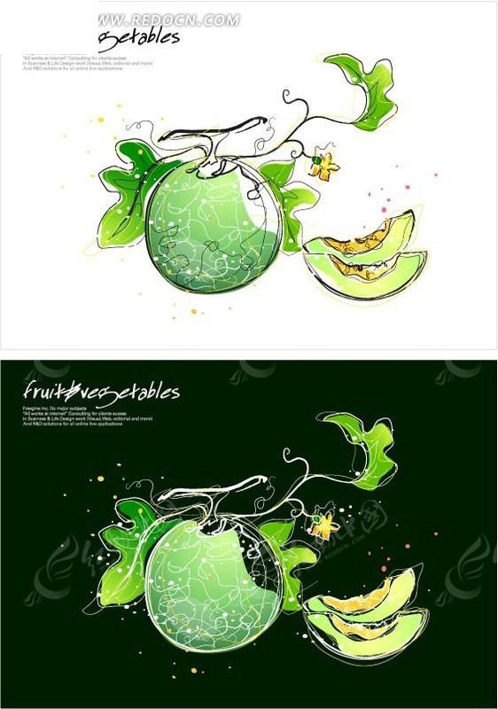 免费素材 矢量素材 花纹边框 底纹背景 手绘瓜藤上成熟的哈密瓜