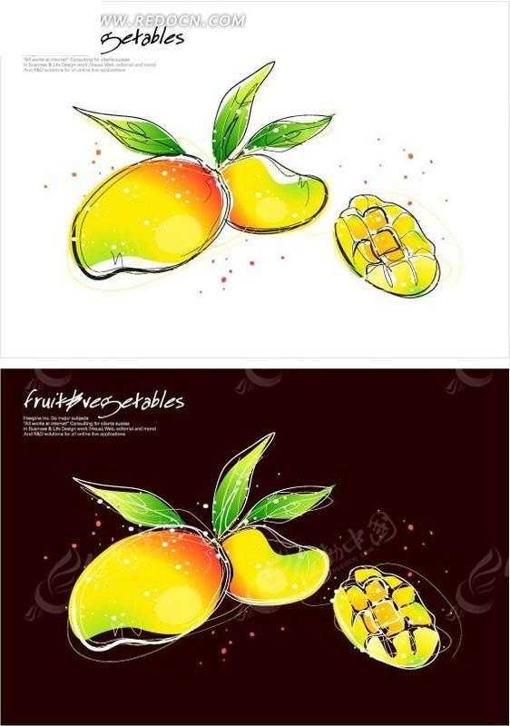 手绘成熟的芒果