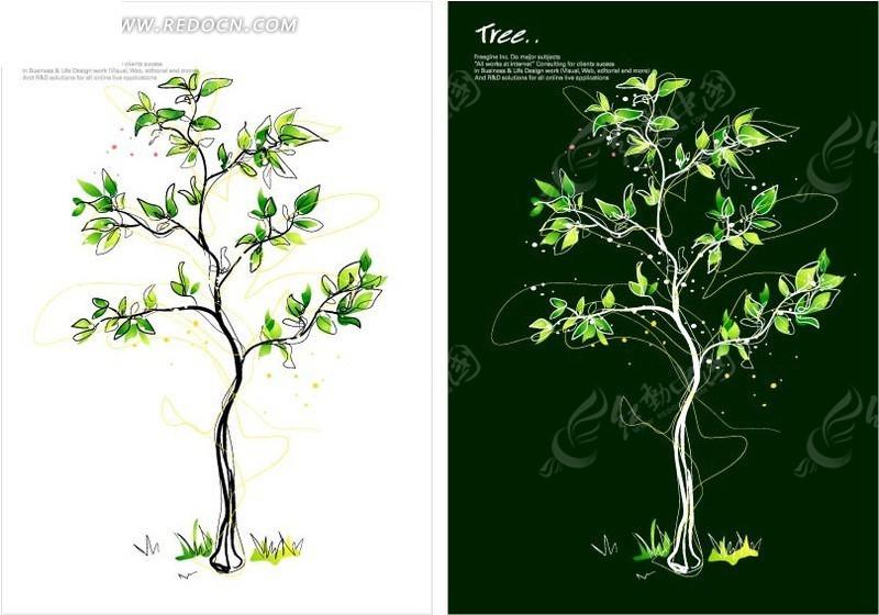 手绘树叶稀少的树木图片
