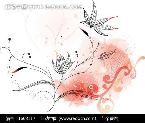 手绘粉色背景上的线描植物