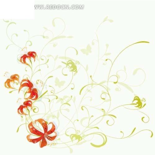 免费素材 矢量素材 花纹边框 底纹背景 > 手绘妖娆的藤蔓和红色花朵