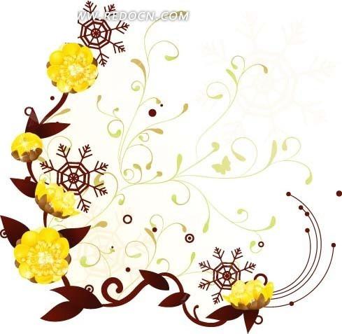 免费素材 矢量素材 花纹边框 底纹背景 手绘黄色花朵和棕色藤蔓和叶子