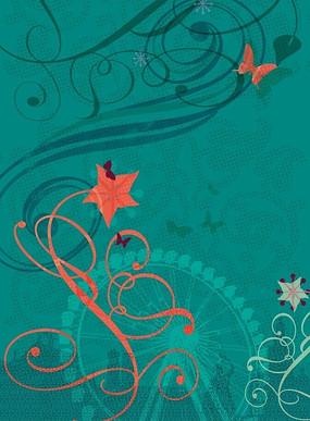 摩天轮蓝色背景上红色蝴蝶和藤蔓