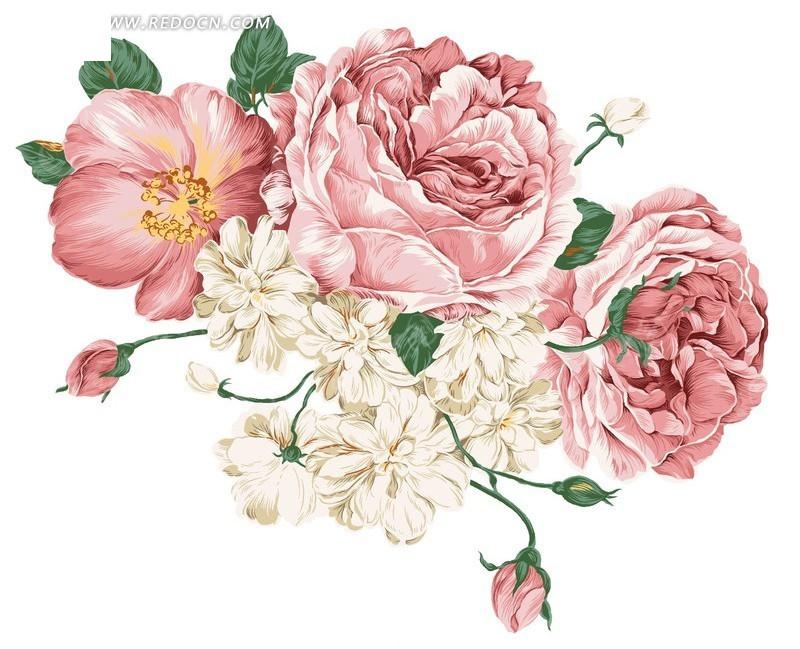 素描玫瑰花丛_手绘玫瑰花朵_手绘玫瑰花朵图片大全_手绘玫瑰花朵图案_鹊桥吧