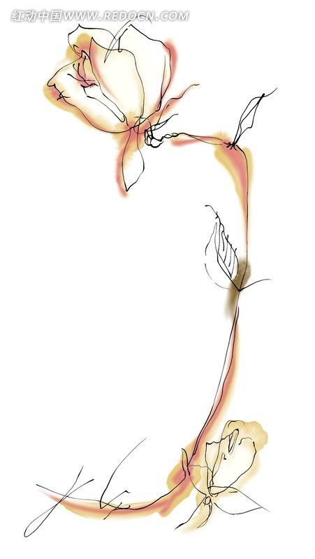 手绘抽象花朵分层素材psd免费下载_花纹花边
