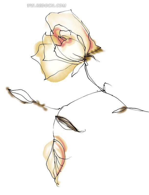 手绘抽象玫瑰花与叶子