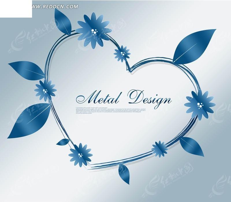 蓝色调图案花与叶子心形边框