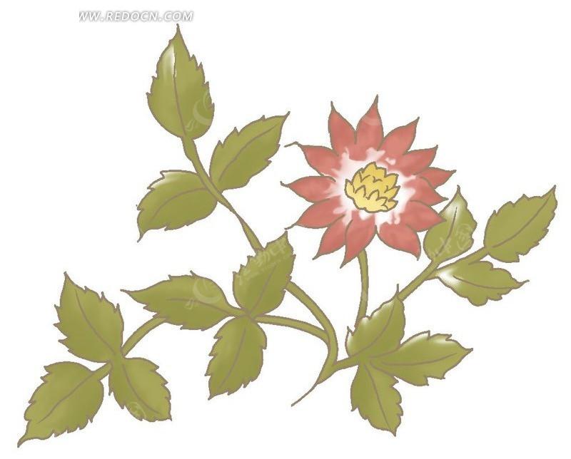 手绘红色花朵与绿叶